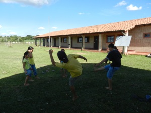 Club de Ninos (Kids' Club) finishing up with a game of hacky sack. Paraguayan kids are pros with their feet.