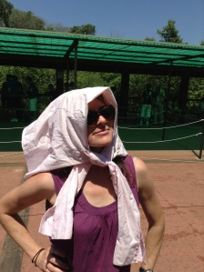 Improvising in the intense sun after losing my hat. Haha