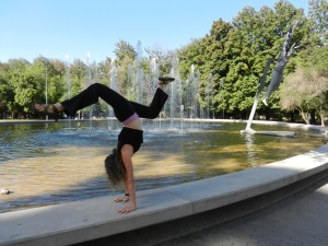 Couldn't resist a handstand on the park fountain in Mendoza, Argentina!
