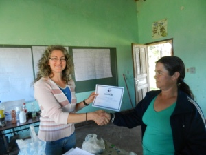 Awarding certificates of completion to attendees of my Seed Bank workshop