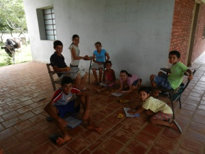First meeting of Club de Los Ninos. It was fascinating to watch how these kids, young and teens alike, were captivated by the simple, old-timey act of coloring with crayons!