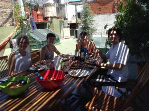 A farewell asado (BBQ) on the hostel roof with my new tango friends in Buenos Aires