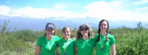 Finish line fun with friends. Andes Mountains in the background. Mendoza, Argentina