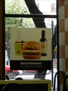 Value meal at McDonald's in Mendoza, Argentina. Sandwich, salad and small bottle of wine!!! These people love their wine, every single day. Even at McDonald's. haha!