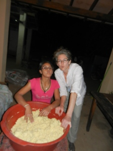 Laughing ourselves silly with 'fish faces' while making chipa during semana santa.