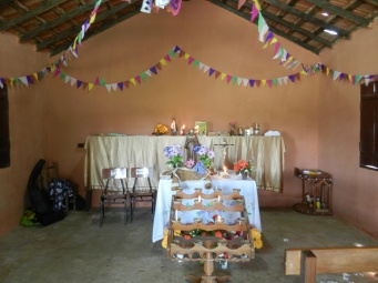 Fiesta Patronal 2014; inside the tiny church, festively decorated