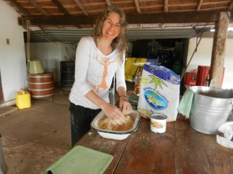 Mixing mbeju dough by hand