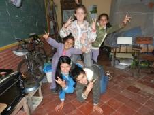 Kids having fun being goofy