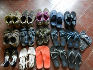 My shoes in PY, minus a pair of boots and 3 pair of tango shoes. Several will stay in PY and a few will make it home with me.